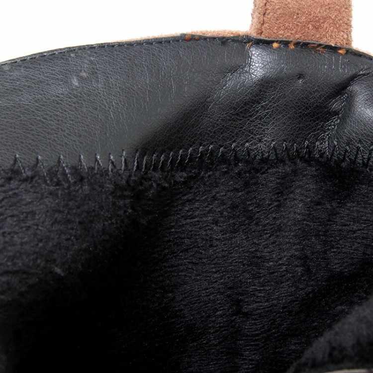 MLJUESE 2018 kadın yarım çizmeler Akın sonbahar kış metal dekorasyon kare topuk binici çizmeleri kadın boyutu 32-42 kadın botları