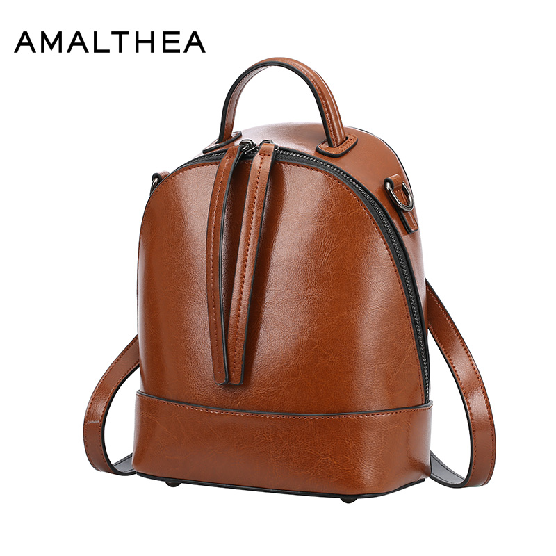 AMALTHEA Brand Backpack Women Backpacks For Teenage Girls Black Schoolbag Designer Leather Backpack Woman School Bag Hot AMAS051