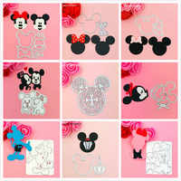 heat Mickey Minnie Bow Ear cutting dies love heart  toy doll Scrapbook card paper craft home decoration embossing stencil cutter
