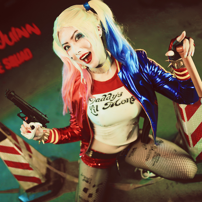 Harley Quinn Cosplay Costume Outfit Women Joker Sexy Suit Coat Halloween Carnival Party Clothes Cosplay Custom Made Adult