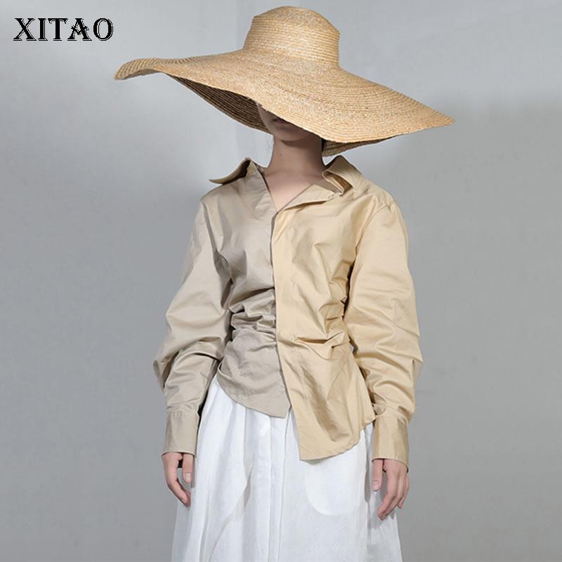Manches Corée down Blouse Chemise 2018 Casual Ljt4562 Collar Couleur Pleine De Automne Mode Femelle Khaki Turn Lâche Solide xitao Nouveau Femmes IqSz7