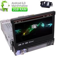 Single 1 DIN 7 Android 6.0 Flip Up GPS Nav Car Stereo DVD Detachable Radio DAB+