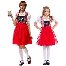 Umorden Bavarian Women Oktoberfest Costumes Kids Beer Waiter Cosplay German Wench Girl Fancy Dress for Mother Daughter