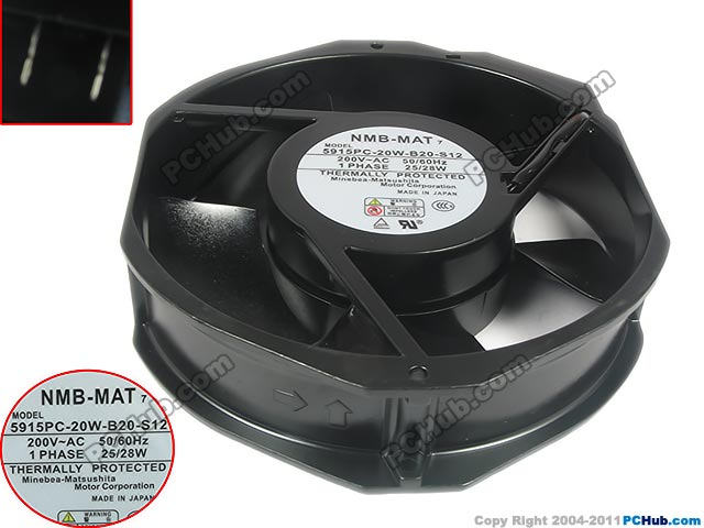 NMB-MAT 5915PC-20W-B20 S12 AC 200V 28W 172X150X38mm Server Round Fan high temperature resistance 200v nmb 5915pc 20w b20 metal frame cooling fan