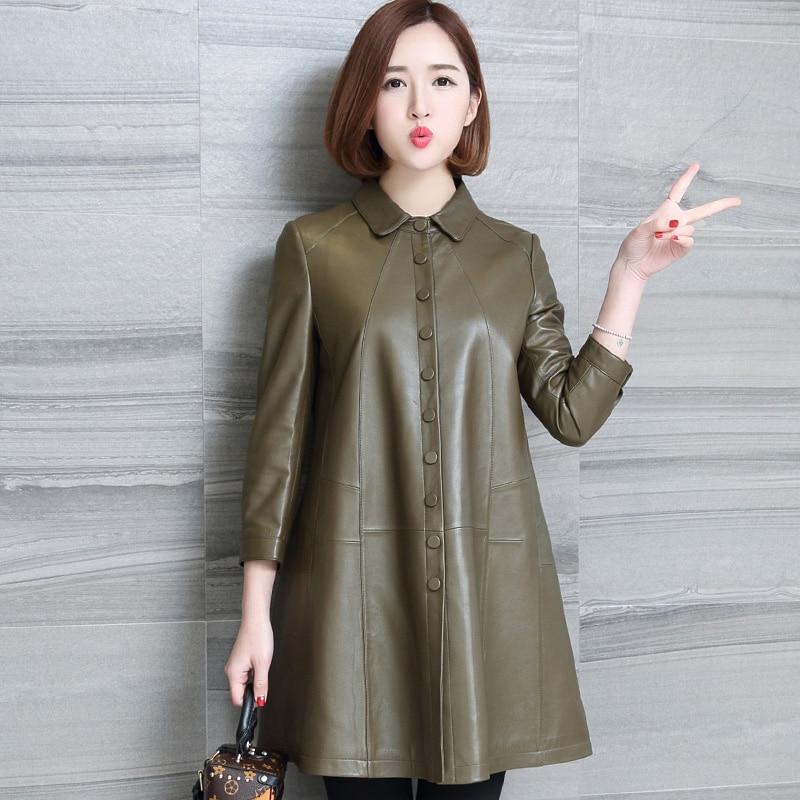 HANZANGL Plus Size PU   Leather   Jacket Windbreaker 2019 Spring Autumn Women Coat Jacket Female   Leather   Outwear M-XXXL black/green