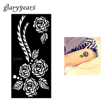 1 Piece Black Color Rose Henna Tattoo Stencil Draw On Beauty Woman Body Art Design Hollow Airbrush Paint Sticker Profession S265