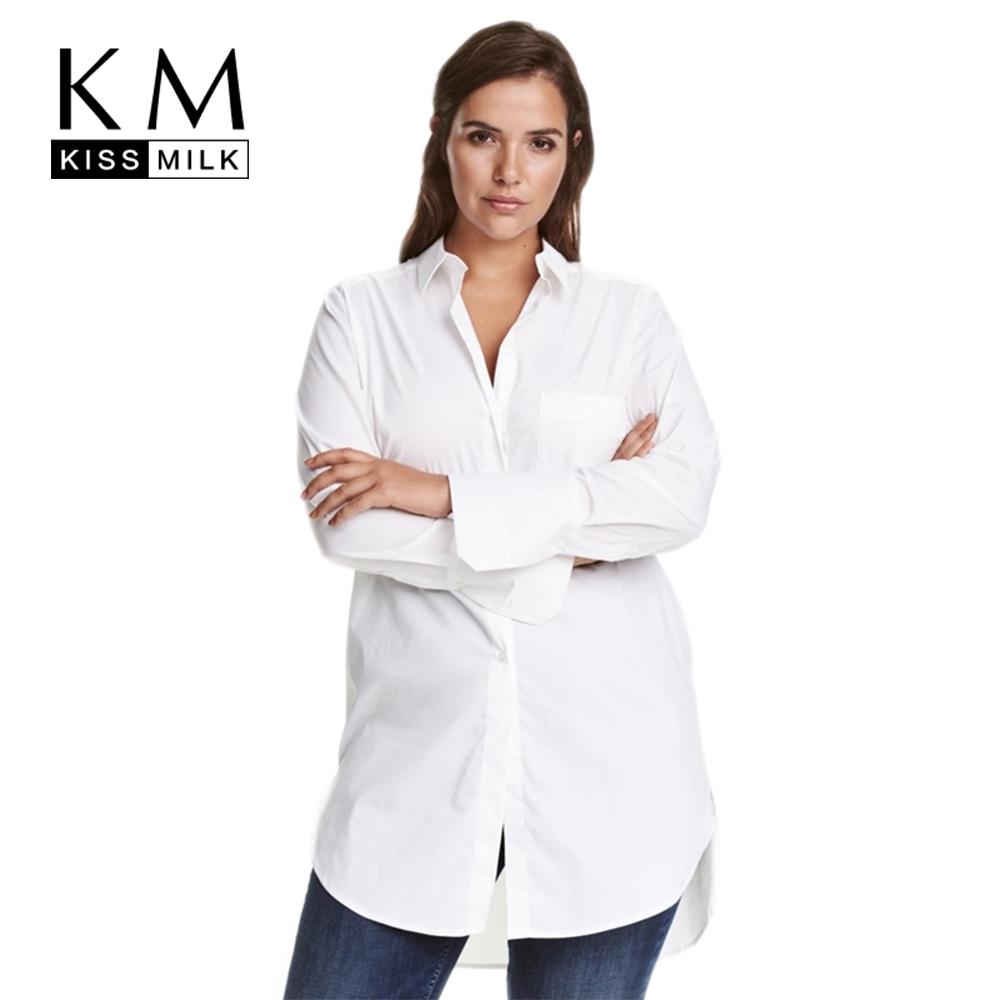 US $15.59 40% OFF|Kissmilk Women Plus Size Button Down Long Sleeve Turn  down Collar Office Lady Shirts High Low Solid Blouses 5XL 6XL 7XL-in  Blouses & ...
