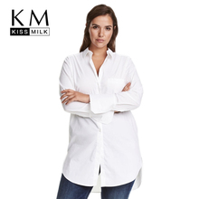 Kissmilk Plus Size Fashion Women Clothing Casual Solid Blouse OL Style Long Sleeve Basic Blouse Big Size Long Blouse 5XL 6XL 7XL цена