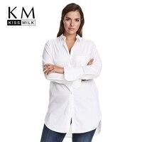 Kissmilk Women Plus Size Button Down Long Sleeves Longline Boyfriend Shirts Oversize Solid Blouses Tops for Officelady 5XL 6XL 7