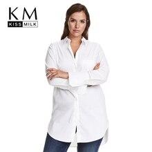 Kissmilk для женщин; Большие размеры пуговицах одежда с длинным рукавом удлиненный Boyfriend рубашки oversize Твердые Блузки Топы Для OfficeLady 5XL 6XL 7