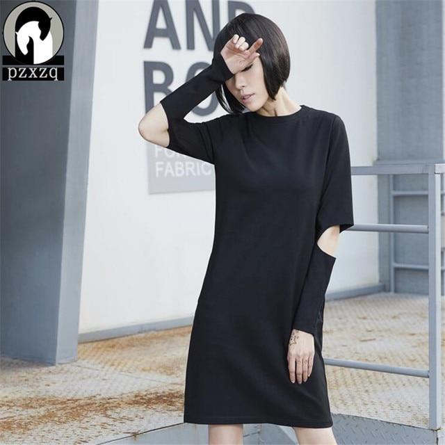 2017 Hq Women Elegant Pinup Black O Neck T Shirts Dress Hole Long