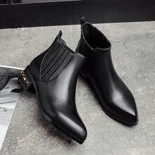 ฤดูหนาวฤดูใบไม้ร่วงของผู้หญิงใบ-onรองเท้าข้อเท้าหมุดต่ำส้นสะดวกสบายสั้นB Ootiesหนังแท้แบรนด์รองเท้าออกแบบสำหรับผู้หญิง