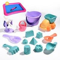 Zachte Siliconen strand speelgoed voor kinderen Zandbak Set Kit Zee zand emmer Hark Zandloper Water Tafel spelen en plezier Schop mold zomer 2