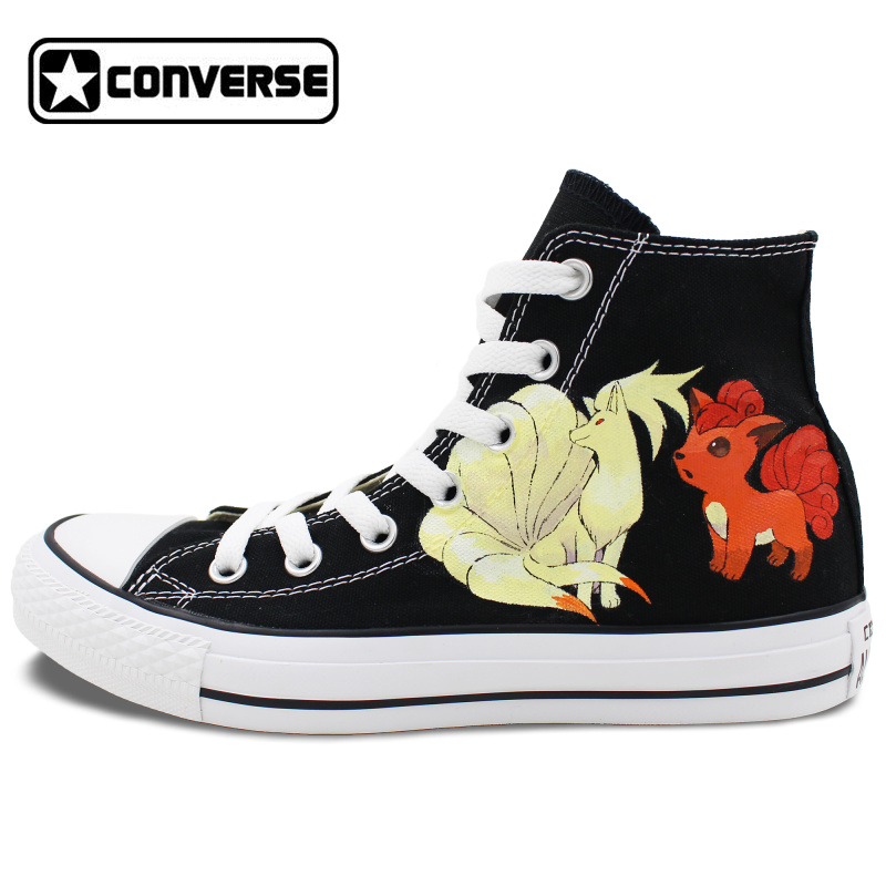 все цены на  Pokemon Go Converse All Star Black Shoes Women Men Ninetales Rapidash Ponyta Vulpix Custom Design Hand Painted Canvas Sneakers  в интернете