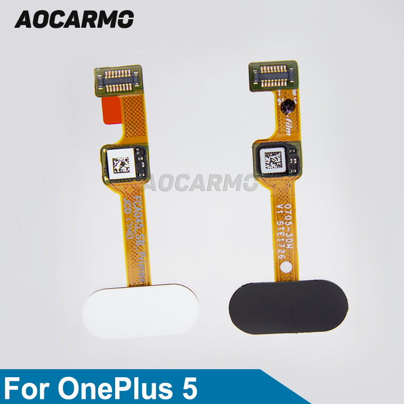 Aocarmo White/Black Home Back Button Fingerprint Sensor Scanner Flex Cable For Oneplus 5 A5000