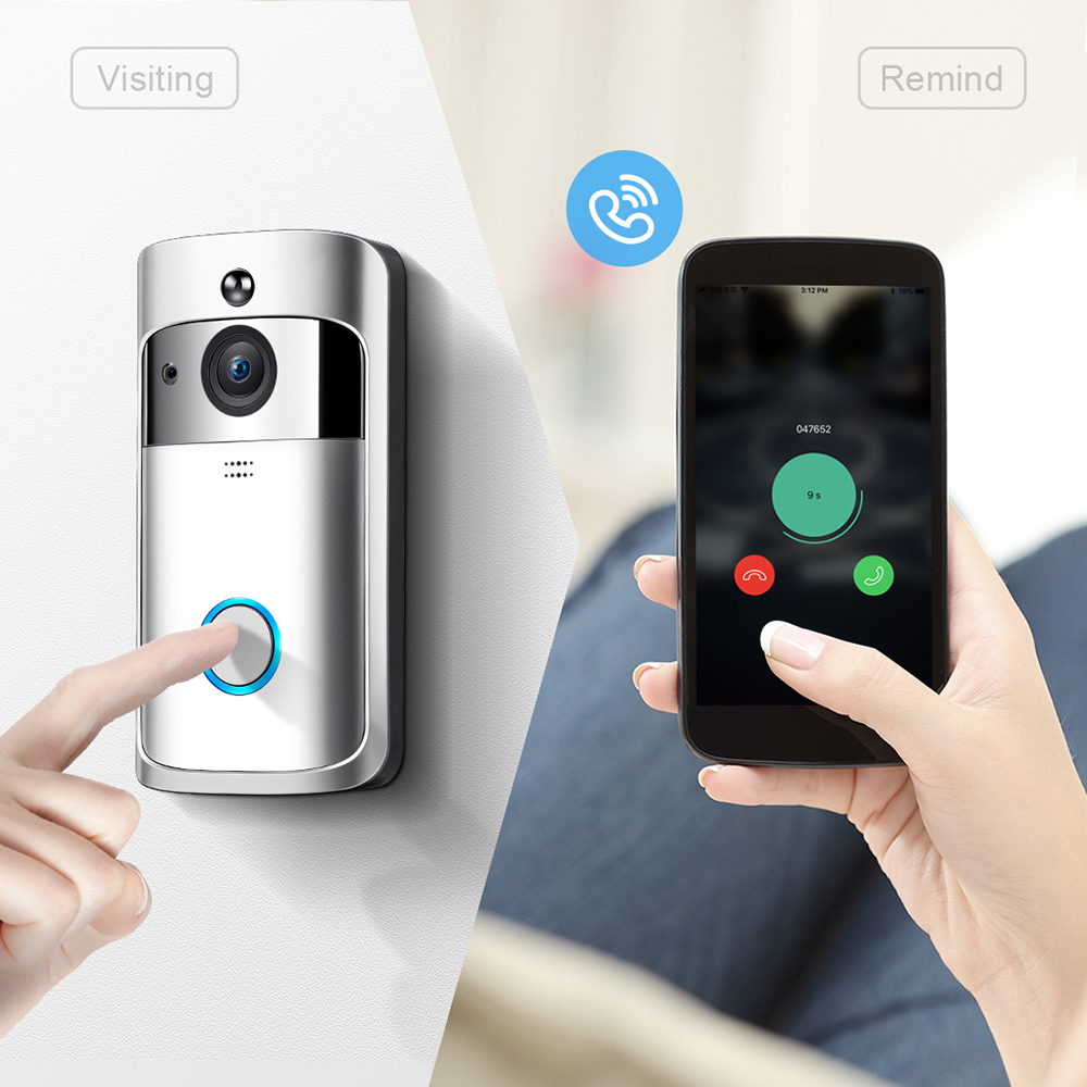 RC Video Doorbell, WiFi Smart Wireless Doorbell 720P HD Security Home Camera Real-Time Video and Two-Way Talk, Night VisionRC Video Doorbell, WiFi Smart Wireless Doorbell 720P HD Security Home Camera Real-Time Video and Two-Way Talk, Night Vision