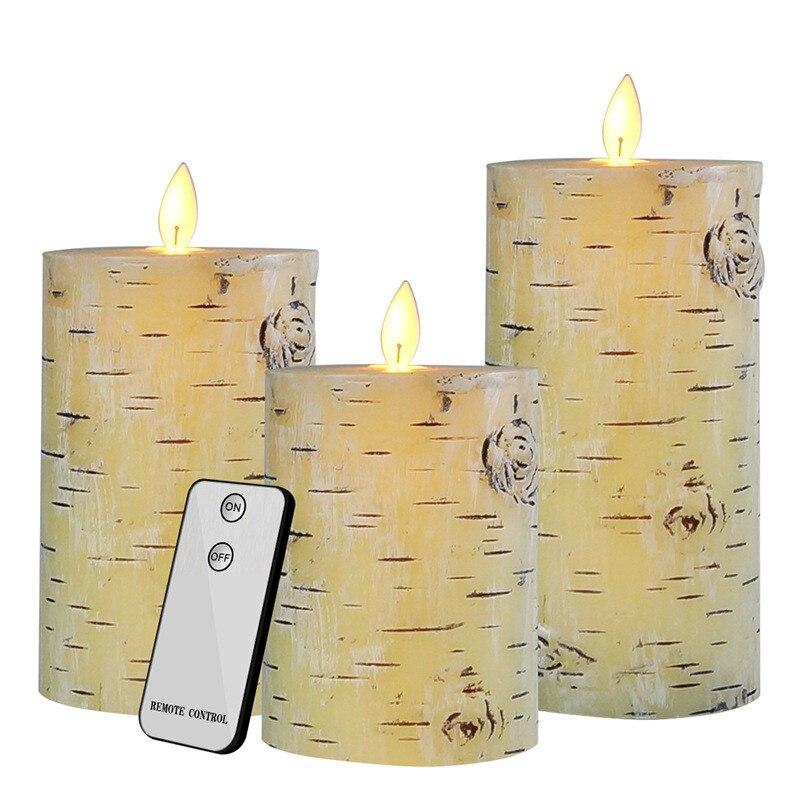 3 uds./vela electrónica de cera con batería luz LED tipo vela sin llama parpadeante vela electrónica remota decoración del hogar velas de fiesta de boda