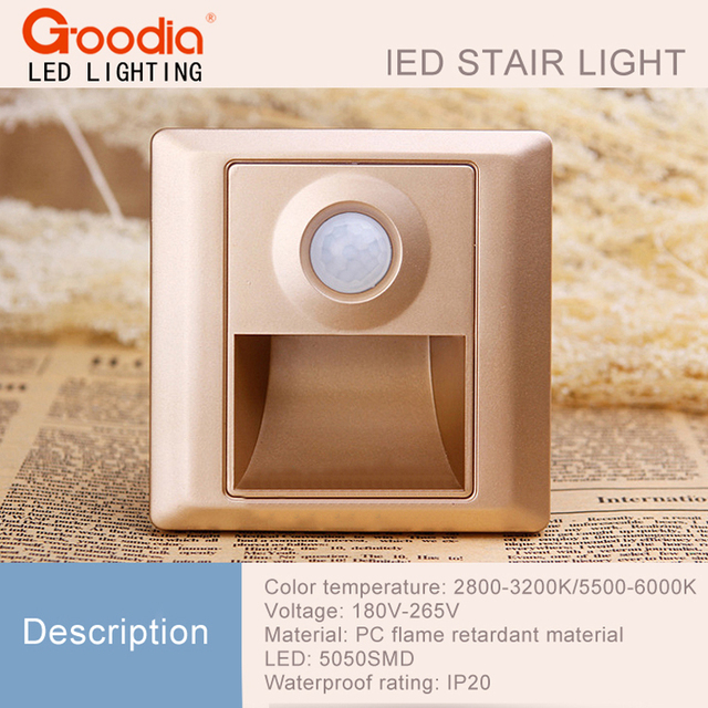 motion sensor led indoor. 2pcs/lot indoor pir motion sensor led stair light infrared human body induction lamp recessed