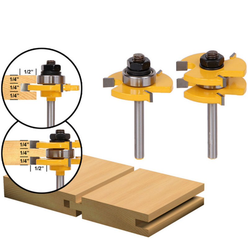 1Set Tongue & Groove Router Bit Set 3/4 Stock 1/4 Shank 3 Teeth T-shape Wood Milling Cutter Flooring Wood Working Tools high grade carbide alloy 1 2 shank 2 1 4 dia bottom cleaning router bit woodworking milling cutter for mdf wood 55mm mayitr
