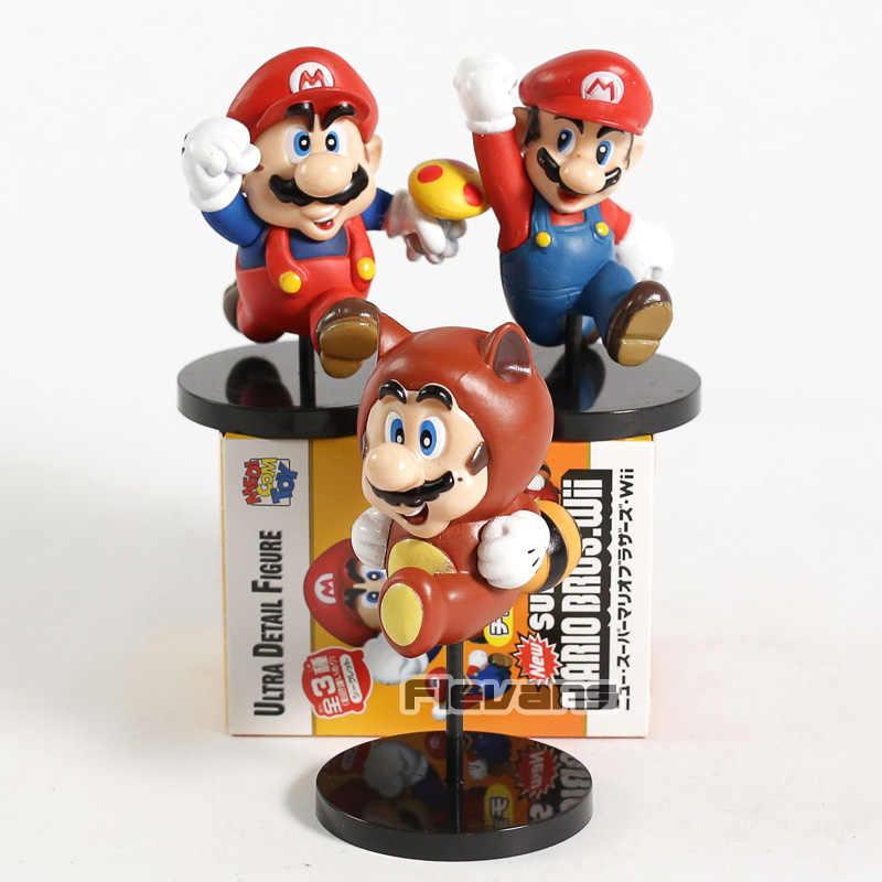 Medicom Toy Super Mario Bros Ultra Detail Figure Guaxinim Clássico Wii Mario 3 pçs/set