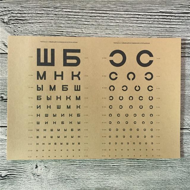 """Топ Мода LS-044 оберточная бумага в винтажном стиле """"Таблица проверки зрения"""" картины для настенный постер для дома Декор кафе декоративный Рисунок для бара 42x30 см"""