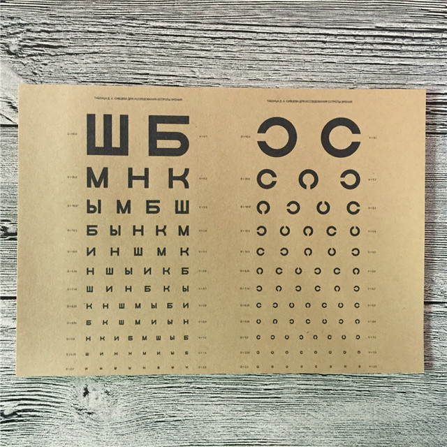 Top Fashion Ls 044 Vintage Kraft Paper Eye Chart Pictures For Wall Poster