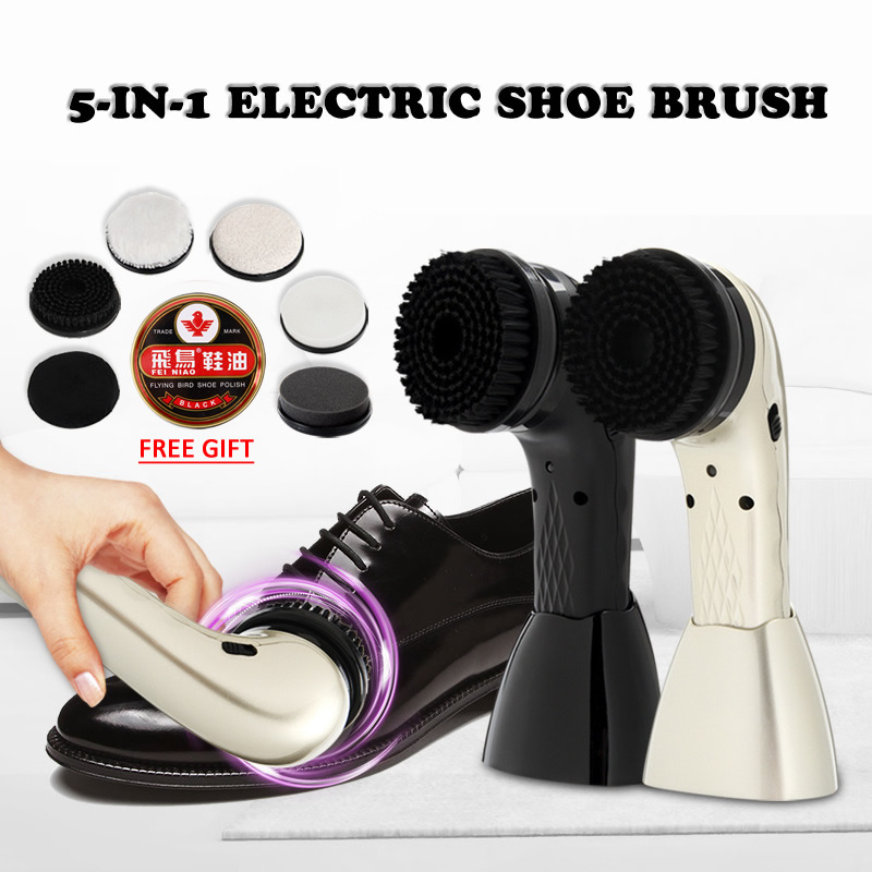 Portable 5 In 1 Electric Rechargeable Shoe Brush Leather Care Shine Brush Leather Sofa Car Seat