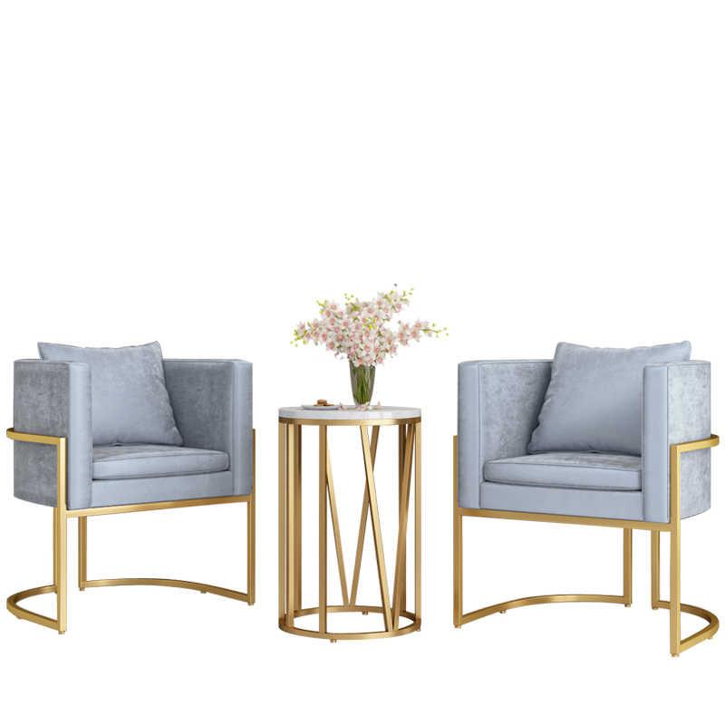 Nordic Ferro Forjado Cadeira Do Sofá Única Cadeira Cadeira de Salão de Café de Ouro Departamento de Vendas Para Discutir Cadeira Cadeira de Sala de Jantar