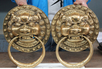 12 Chinese Brass Foo Dog Head Door knocker Gate Pair Crafts Home Furnishing Arts pure copper
