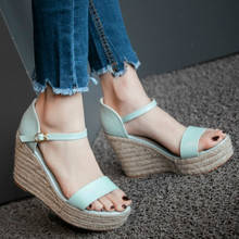 Womens Solid Elevated Wedge Espadrille Classic Sandals Summer Parties Shoes Street Sz 33 43
