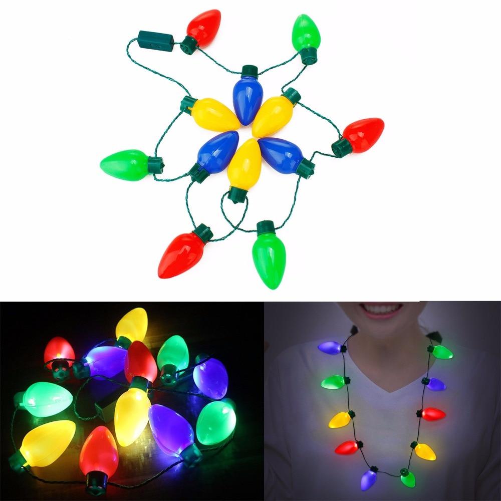 12LEDs Plastic Flashlight Luminous Christmas Festival Necklace LED Light Up Party Bulb Necklaces For Adults Kids Lamps