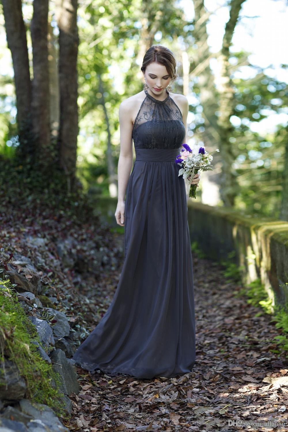 bc632636fc0 2016 Cheap Grey Pink Navy Blue Lace Bridesmaid Dresses Halter Chiffon Long  Formal Maid Of Honor Wedding Party Gowns BF3-in Bridesmaid Dresses from  Weddings ...