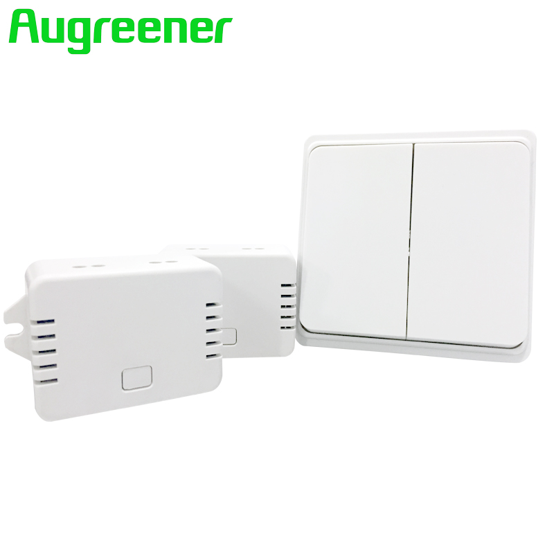 Augreener wireless remote control light switch push button waterproof no battery 70m long range toggle switch free shipping electrical power control toggle button switch red silver 5 piece pack