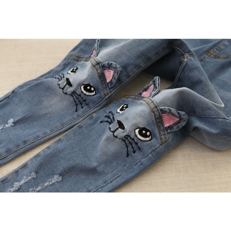 Girls' Cat Printed Jeans with Elastic Waist 14 » Pets Impress