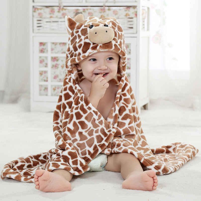 Мягкий банный Халат с капюшоном и изображением жирафа и медведя, банное полотенце для новорожденного