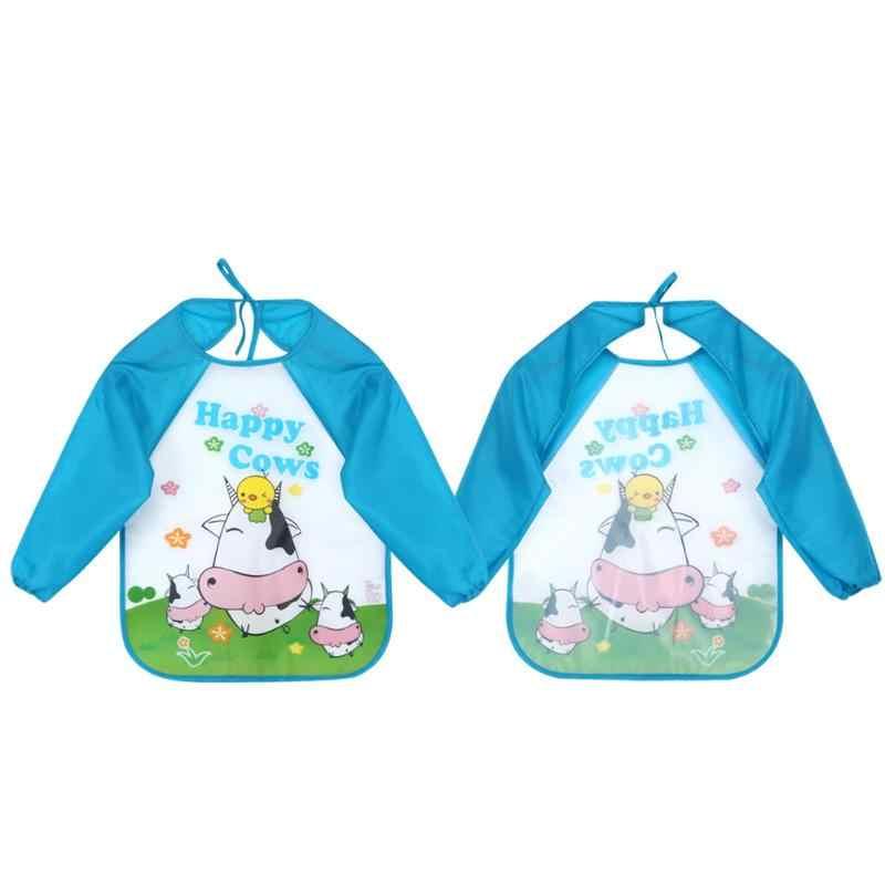 Для маленьких мальчиков нагрудники для девочек младенцев мультфильм печатных с длинным рукавом непромокаемое покрытие для шарф для малышей Аксессуары для кормления младенцев