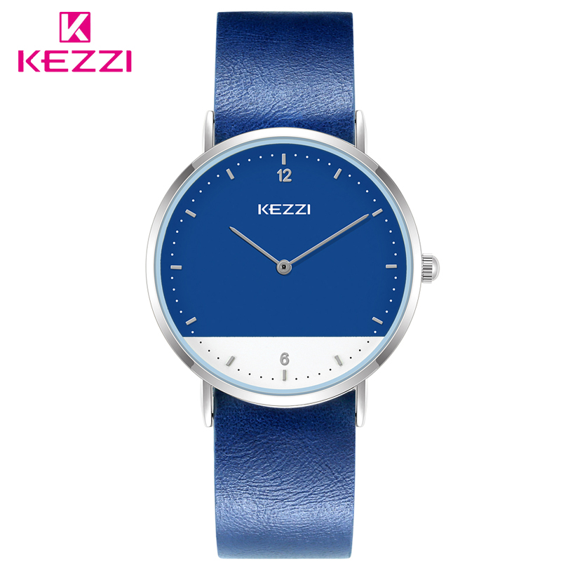 KEZZI Fashion Ladies Wristwatch Double Colors Dial Women Quartz Watches Women's Casual Leather Dress Watch Lady Relogio Feminino