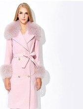 Brand Design Women Winter Coat Warm Long Women's Cashmere Coats With Genuine Fox Fur Collar,2016 New Fashion Jacket Outwear