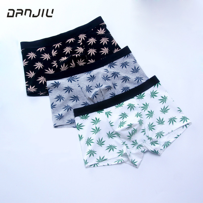 DANJIU Maple Leaf Printing Cotton Mens Boxer Shorts Breathable Soft Male Underwear Fashion Cueca Calzoncillos Hombre Underpants