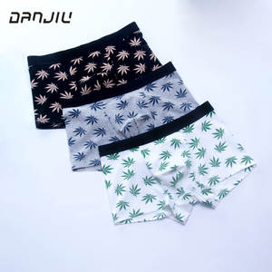 DANJIU Male Underwear Boxer-Shorts Leaf-Printing Mens Cotton Fashion Calzoncillos Soft