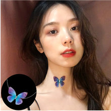 Fashion personality inlaid zircon transparent fish line butterfly elf pendant female romantic holiday wind invisible neck chain(China)