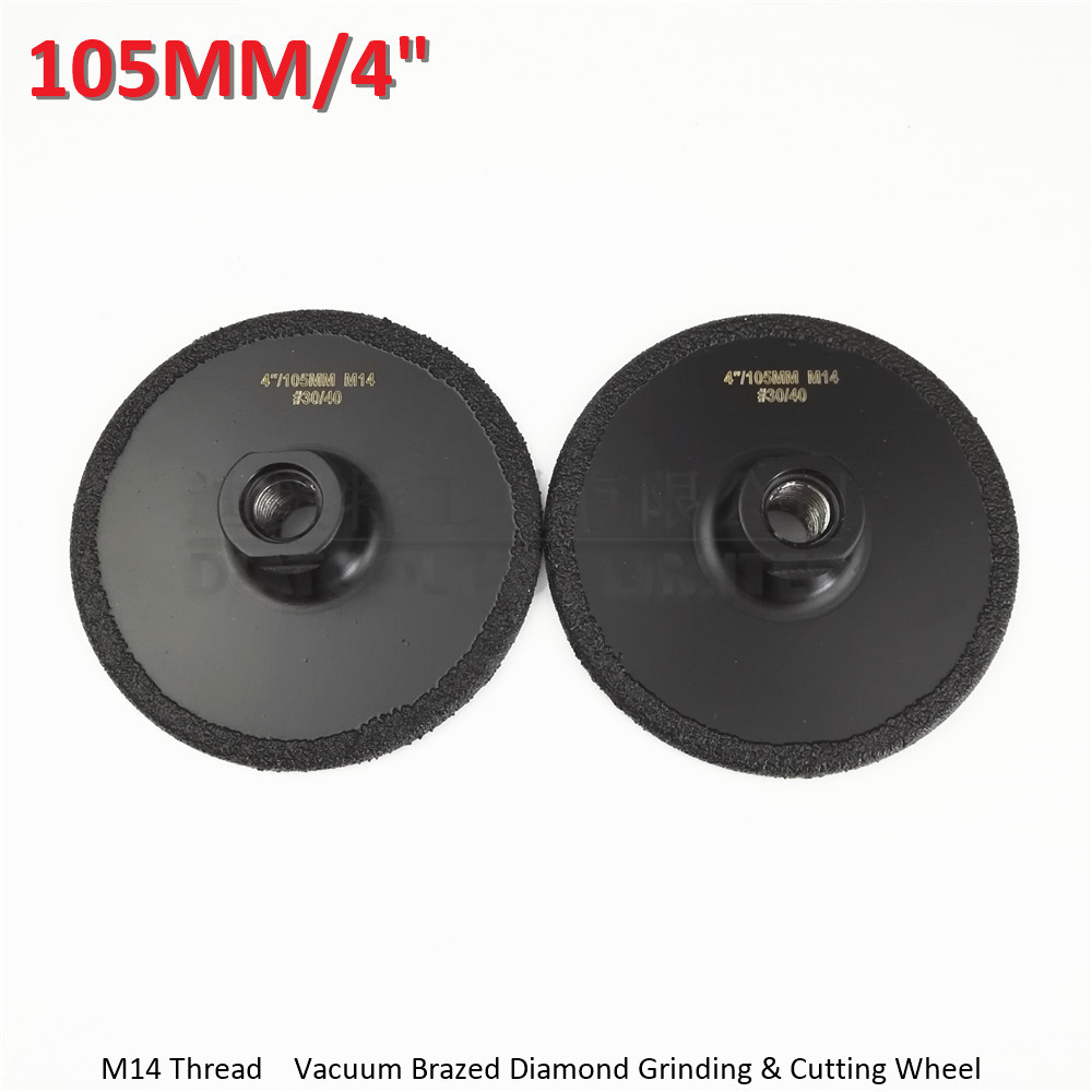 2pcs Dia105MM Vacuum Brazed diamond flat grinding wheel M14 #30 Diameter 4
