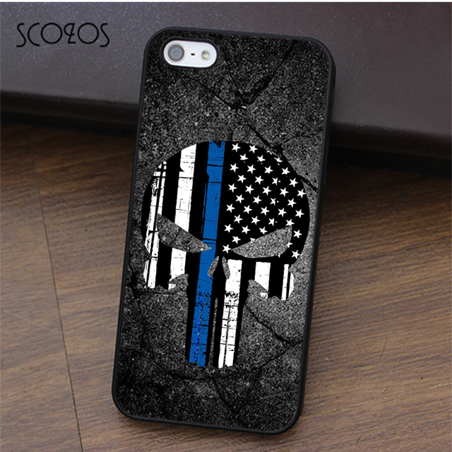 size 40 3b6f3 4d923 US $4.99 |SCOZOS Police Thin Blue Line Flag punisher phone case for iphone  X 4 4s 5 5s Se 5C 6 6s 7 8 6&6s plus 7 plus 8 plus #ca348-in Fitted Cases  ...