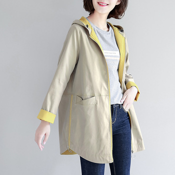 2019 Spring Autumn New Trench Loose Windbreaker Women Hooded Long Solid Color Large Size Was Thin Ladies Temperament Casual Coat