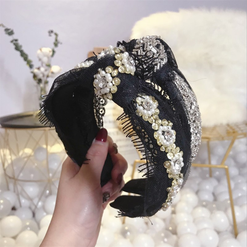 High-end Luxury Hair Accessories Women Mesh Lace Hollow Diamonds Knotted Wide-brimmed Headband Headband Girl Hair Band Headwear