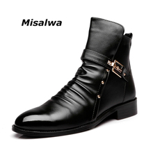Misalwa Men's Black Leather Chelsea Boots Buckle Zipper Spring Winter Woollen Plush Snow Fashion Casual Ankle Motor Boots Shoes