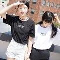Женщины Harajuku Топы Ulzzang Повседневная Рубашка Футболки Женские 2017 Плюс Размер Лето Стиль Корейской Вышивки Письмо O Шеи Футболку