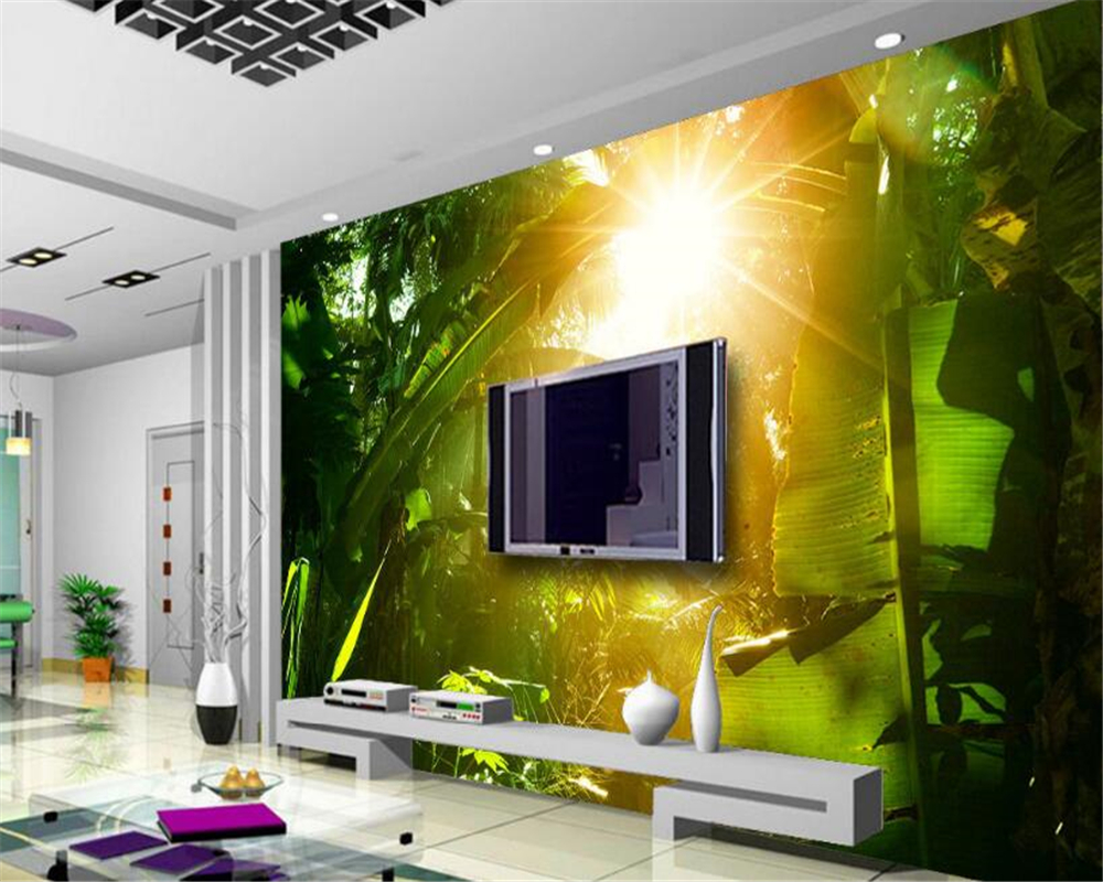 beibehang Custom high quality seductive 3d wallpaper beautiful sunny green forest TV background wall papel de parede wallpaper in Wallpapers from Home Improvement