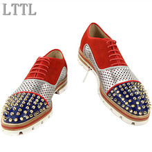 LTTL Men Red Lace-up Patchwork Casual Shoes Spikes Studded Lowtop Mixed Color Loafers Anti-skid Shoes Men Party Shoes Size 38-47