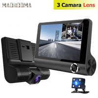 Coche DVR 3 cámaras lente 4,0 pulgadas cámara de salpicadero doble lente con cámara de visión trasera grabadora de vídeo Auto registrador Dvrs Dash Cam